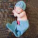 Cute Mermaid Design Handmade Crochet Baby Beanie Costume Photography PropsUK-AJEW-R030-29-1