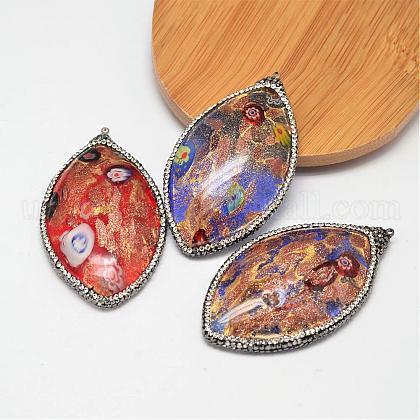 Horse Eye Handmade Foil Glass Rhinestone Big PendantsUK-FOIL-M015-04-1