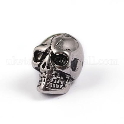 Retro Skull 304 Stainless Steel European Large Hole BeadsUK-X-STAS-F072-09-A-1