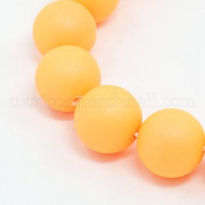 Round Shell Pearl Frosted Beads StrandsUK-BSHE-I002-10mm-01-K-1
