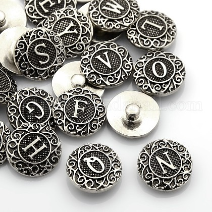 Antique Silver Tone Zinc Alloy Enamel Alphabet Snap ButtonsUK-SNAP-N010-86-NR-1