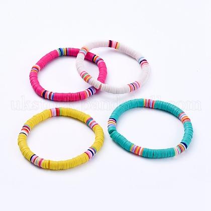 Handmade Polymer Clay Heishi Beads Stretch BraceletsUK-BJEW-JB05087-1