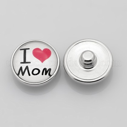 Flat Round with I Love Mom Platinum Plated Brass Jewelry Snap Buttons for Mother's DayUK-SNAP-A050-20mm-M01-NR-1