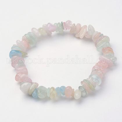 Natural Morganite Beaded Stretch BraceletsUK-X-BJEW-JB02683-02-1