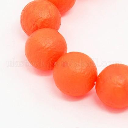 Round Shell Pearl Frosted Beads StrandsUK-BSHE-I002-10mm-11-K-1