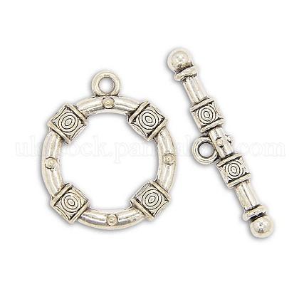 Tibetan Style Alloy Ring Toggle ClaspsUK-PALLOY-J154-51AS-1