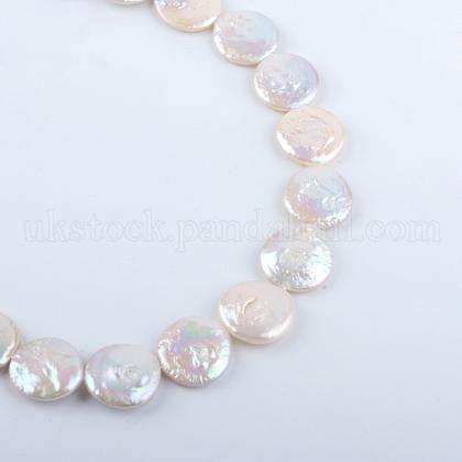 Flat Round Natural Baroque Pearl Keshi Pearl Beads StrandsUK-PEAR-R015-16-1