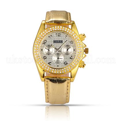 Stainless Steel Leather Diamond-studded Wristwatch Quartz WatchesUK-WACH-N008-06E-1