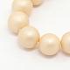 Round Shell Pearl Frosted Beads StrandsUK-BSHE-I002-8mm-13-K-1