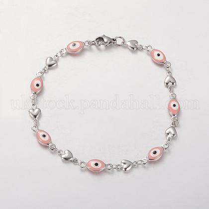 Unisex 304 Stainless Steel Enamel Evil Eye and Heart Link BraceletsUK-BJEW-L446-05-K-1