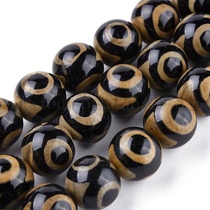 Tibetan Style 3-Eye dZi Beads StrandsUK-TDZI-G010-K04-1