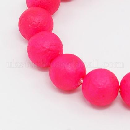 Round Shell Pearl Frosted Beads StrandsUK-BSHE-I002-6mm-10-K-1