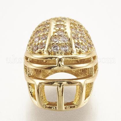 Brass Micro Pave Cubic Zirconia Football Helmet BeadsUK-ZIRC-S061-52G-1