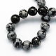 Natural Snowflake Obsidian Round Beads StrandsUK-G-S172-8mm-2