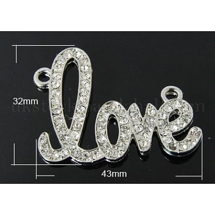 For Valentines Day Zinc Alloy Rhinestone PendantsUK-RB-H153-2-K-1