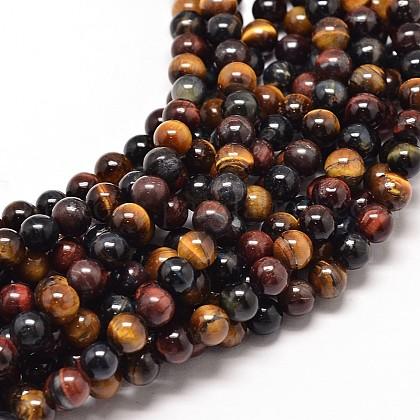 Natural Tiger Eye Beads StrandsUK-G-P072-35-6mm-K-1