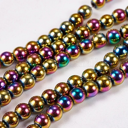 Electroplate Non-magnetic Synthetic Hematite Beads StrandsUK-G-J169A-4mm-05-1
