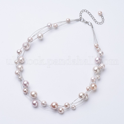 ABS Imitation Pearl Beaded NecklacesUK-NJEW-D286-04-1